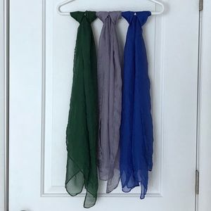 Set of 3 Georgette scarves in blue, green and gray